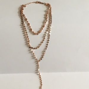 Bauble Bar AIMEE LAYERED Y-CHAIN NECKLACE rose gld